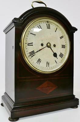 Superb English Twin Fusee Mahogany 8 Day Arched Top Striking Bracket Clock 1900