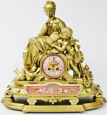 Spectacular Antique French Sevres 8 day Gilt Metal Figural Striking Mantel Clock