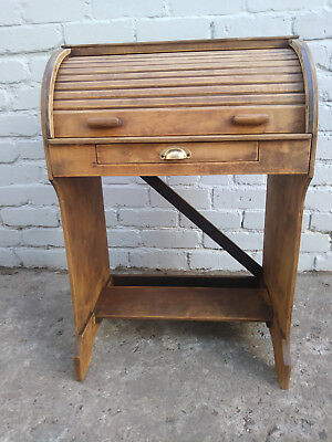 Vintage Childrens Roll Top Writing Desk Solid Wood