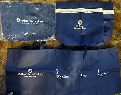 HOLLAND AMERICA Cruise Line Tote Bags Blue - light - Three Designs - Lot of 7
