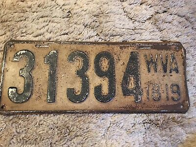 West VirginiA License Plate 1918 1919