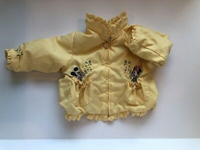 Vintage Disney Baby Toddler Yellow Zip Up Lined Jacket Mickey Minnie 12 Months