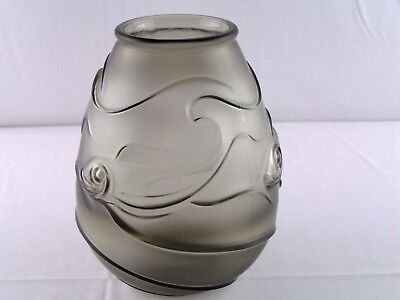 """Art Deco Satin Frosted Smoke Glass Vase with Stylized Fish Relief 7.5"""" x 6"""" Nice"""