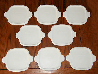 8 NEW Corning Ware Petite Lids Fit All P-41 P-43 White Plastic Covers FREE SHIP