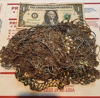 1.8+ Lbs Gold And Silver Jewelry Chains Unsorted Junk Drawer Lot