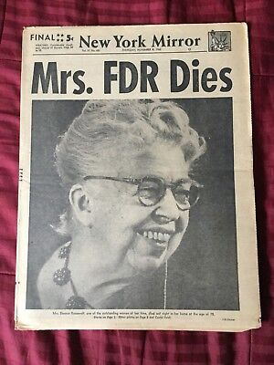 Death Of Eleanor Roosevelt - 1962 New York Mirror Newspaper