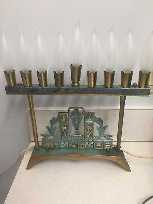 "Vintage Brass Israel Electric Menorah 12 3/4"" 12 Tribes of Israel -  Excellent"