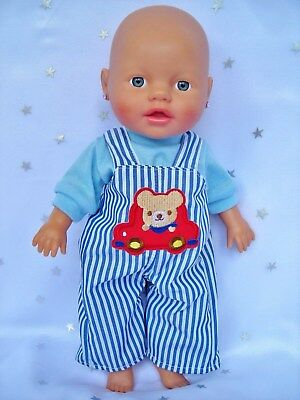 "Dolls clothes for 13"" My Little Baby Born Doll~BEAR IN CAR~BLUE STRIPE OVERALLS"
