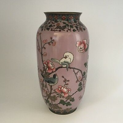 Fine Large Japanese Mauve Meiji Cloisonne Vase with Birds on Flowering Branches