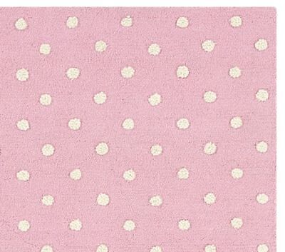 New Pottery Barn Kids Pin Dot 5 x 8 Rug Pink 50% off Wool Authentic Hand tufted