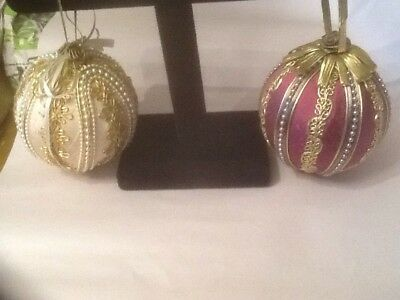 Vintage Victorian Large Beaded/ Fabric Christmas Ornaments (2)