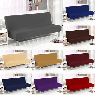 Armless Sofa Bed Futon Cover Furniture Seater Couch Slipcovers Stretch Protector