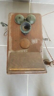 vintage wooden wall telephone. ready for restoration. unknown make and model.