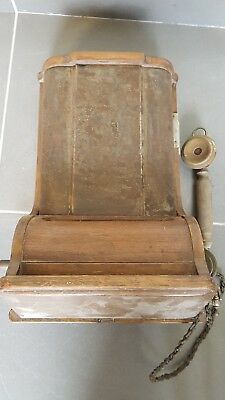 vintage wooden wall telephone, ready for restoration, unknown make and model