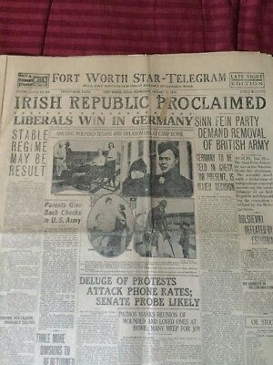 Irish Republic Proclaimed - Ireland - 1919 Fort Worth, Texas Newspaper