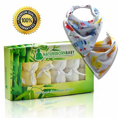 naturebornbaby Bamboo Baby Towels with 2 Drool and Ebook, 10 by 10 Inch.