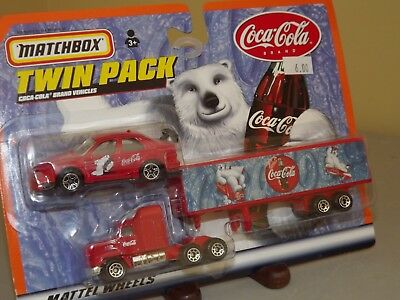 1999 Matchbox Coca Cola Twin Pack Red Tractor Trailer & Red Car Polar Bear MOC