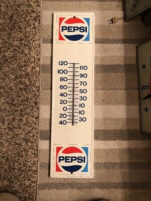 Vintage Pepsi Cola Metal Thermometer Sign