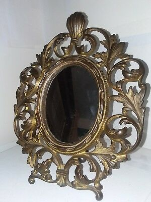Cast Iron Brass Finish Victorian Mirror Picture Stand Up mirror Frame Ornate