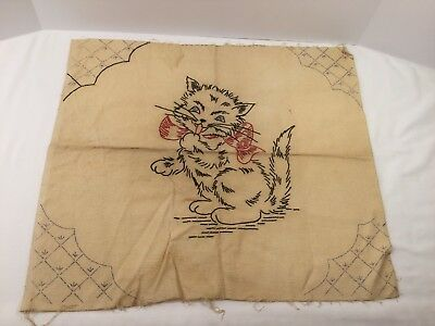 Vintage Embroidery Kitten/Cat With Red Bow ~ Unfinished