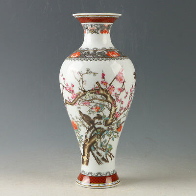 China Porcelain Hand-Painted Flower & Bird Vase W Qianlong Mark R1161`