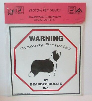 """Warning Property Protected By Bearded Collie Dog 11"""" X 11"""" Plastic Sign"""