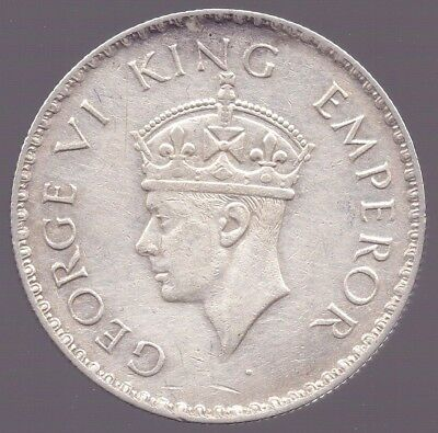 1938 British India One Rupee Silver Coin , King George VI Bombay Mint Extra Fine