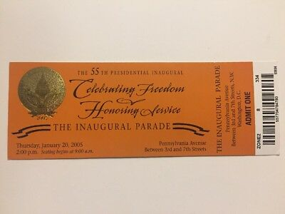 2005 Inauguration President George W. Bush Inaugural Parade Ticket PA Avenue
