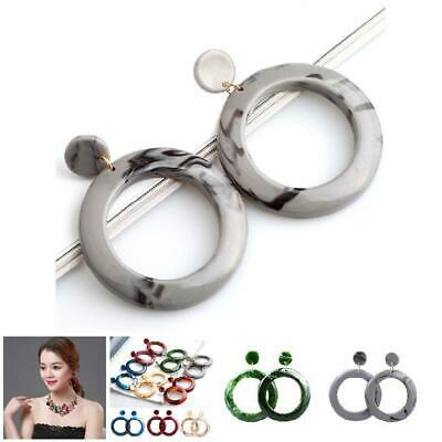 Women Big Hoop Earrings Acrylic Circle Lady Girl Simple Earring Jewelry Gifts