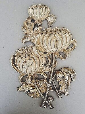 vtg homco home interiors large syroco gold and cream flower wall art