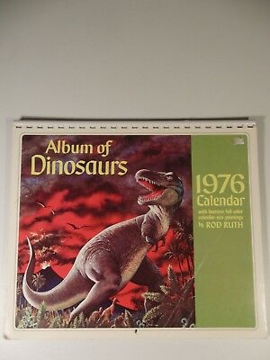 1976 Wall Calendar: Album of Dinosaurs by Painter Rod Ruth, Very Good Condition
