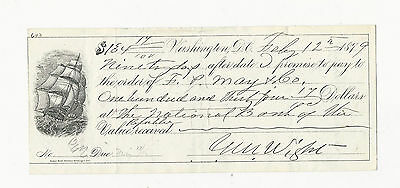 Rare 1879 Prommisory Note From Washington D.c. - Nice Ship Vignette