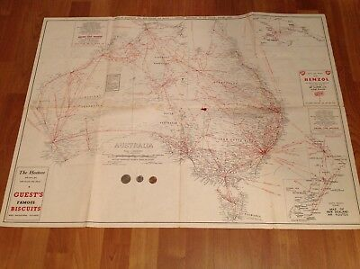 1960 Australian map route,airway map for planes.