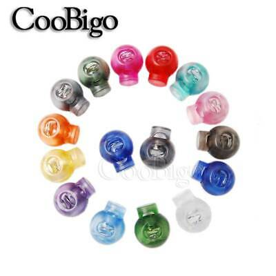Mixed Colorful Plastic Transparent Spring Loaded Cord Lock Toggle Clip Stopper
