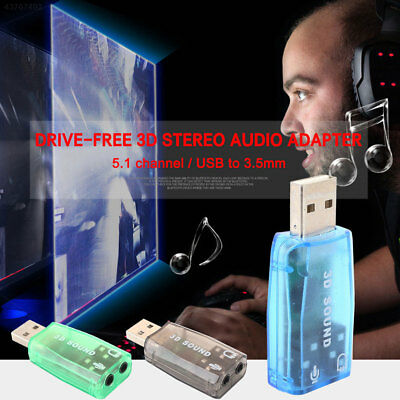 E02A 5.1 Channel USB2.0 Premium USB Sound Card Audio Adapter Headset 3D Sound