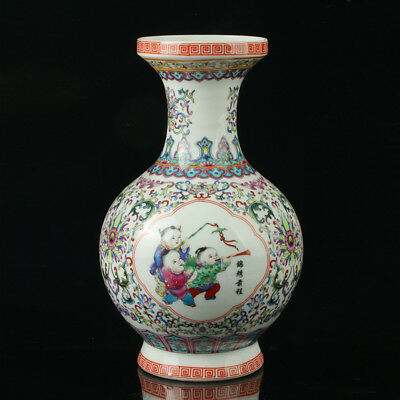Chinese Porcelain Hand-Painted Children Vase Mark As The Qianlong Period R1018.b