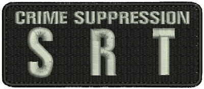 Crime suppression SRT embroidery patches 2x5 hook silver