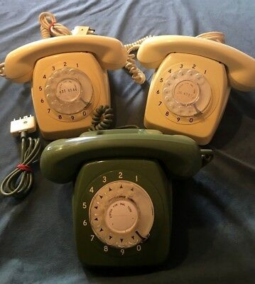 3 x Vintage 1960s P.M.G. 801 Cream and green Rotary telephones - PARTS/REPAIR