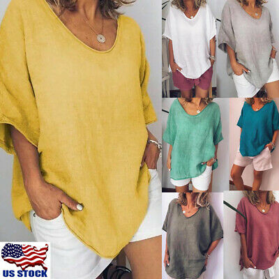 Women Summer Short Sleeve Casual Loose Baggy Tunic Tops T Shirt Blouse Plus Size