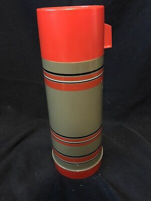 Vintage Aladdin Thermos Glass Liner Red Brown Striped Thermos 1 Quart Hot & Cold