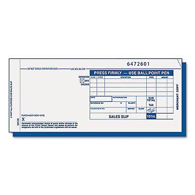 Credit Card Sales Slip, 7 7/8 x 3-1/4, Three-Part Carbonless, 100 Forms, S..