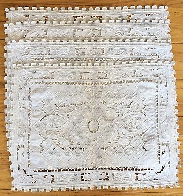 Vintage Linen Embroidered Detail Cut Work Placemats Set Of 4