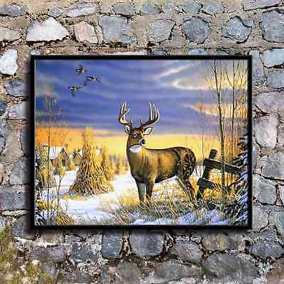 Deer Country Afternoon HD Canvas Print Home Decor Painting Wall Art Pictures