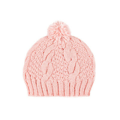 Acorn Toddler Baby Girls Cable Knit Pink Wool Beanie Small 9-18mnths -  EUC