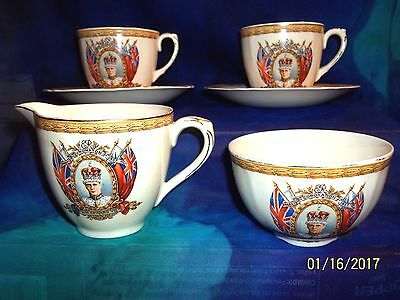 1937 GRINDLEY CORONATION KING EDWARD VIII Teacups ,Saucers, Sugar & Creamer Set