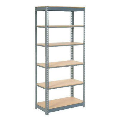 "Boltless Heavy Duty Shelving 48""W x 24""D x 84""H, 6 Shelves, Wood Deck, Lot of 1"
