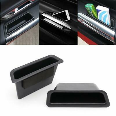 Storage box Black ABS Front Row Door Side Handle Armrest Holder for Ford Mustang