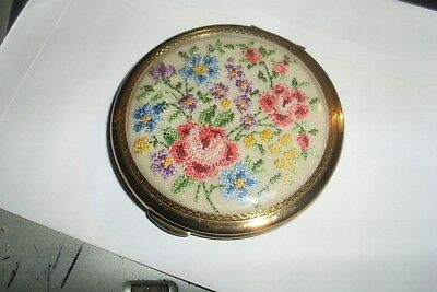Vintage Gold Tone Metal Powder Compact -Petit Point/embroidered Rose Design