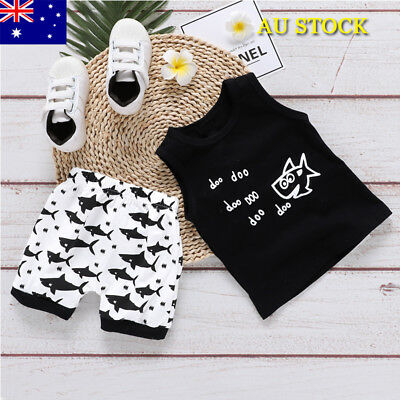 UK Baby Boys 2PCs T-Shirt Pants Kids Outfits Infant Newborn Shark Romper Clothes
