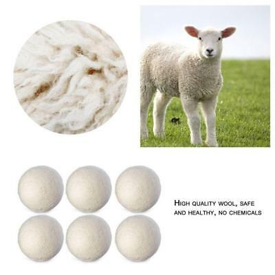 6Pcs 6cm Natural Fabric Wool Dryer Balls Reusable Softener Clothes Laundry BG